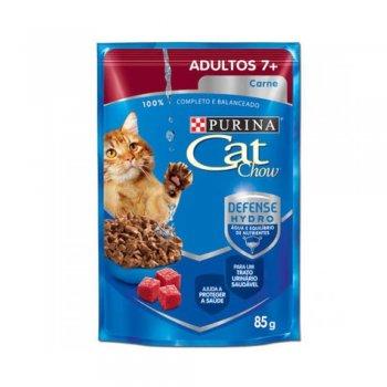 RAÇÃO PURINA CAT CHOW SACHÊ ADULTOS 7+ SABOR CARNE 85 GR