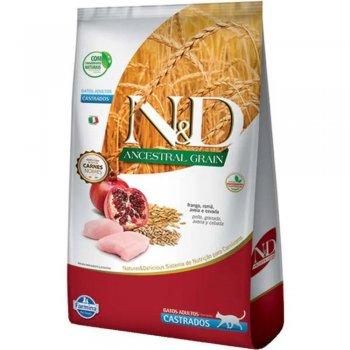 RAÇÃO FARMINA N&D GATOS CASTRADOS ANCESTRAL GRAIN FRANGO 7,5 KG