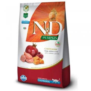 RAÇÃO FARMINA N&D FELINE ADULTOS CASTRADOS PUMPKIN FRANGO 1,5 KG