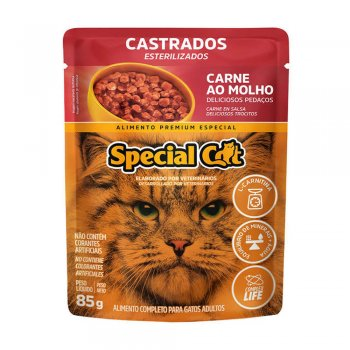 RAÇÃO SPECIAL CAT SACHÊ CASTRADOS CARNE AO MOLHO 85 GR