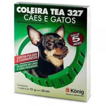 COLEIRA ANTI PULGAS CARRAPATICIDA TEA 327 FILHOTES CÃES E GATOS PEQUENOS 13 GR 33 CM