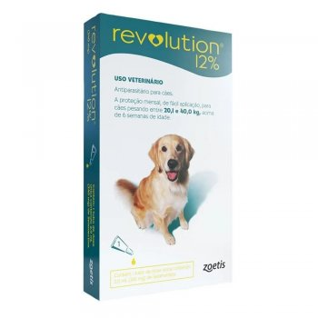 ANTI PULGAS REVOLUTION 12% 20,1 A 40 KG 2 ML 1 UNIDADE