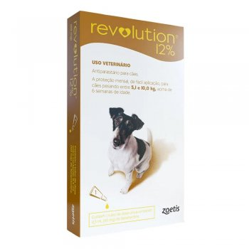 ANTI PULGAS REVOLUTION 12% 60 MG CÃES  5 A 10 KG