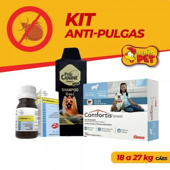 KIT ANTI PULGAS COMFORTIS 18 A 27 KG + SHAMPOO PRÓ CANINE 700 ML + K-OTHRINE 30 ML