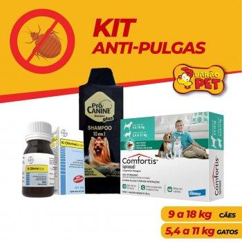 KIT ANTI PULGAS COMFORTIS 9 A 18 KG + SHAMPOO PRÓ CANINE 700 ML + K-OTHRINE 30 ML