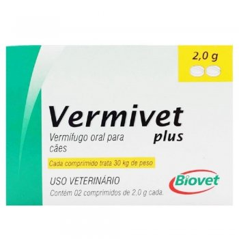 VERMIVET PLUS 30 KG COM 2 COMPRIMIDOS